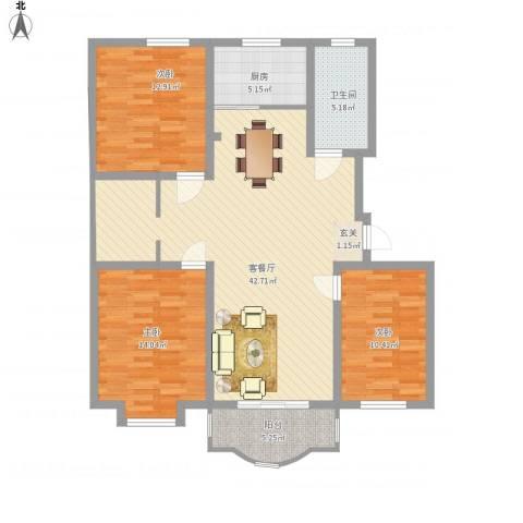 阳光世纪花园3室1厅1卫1厨135.00㎡户型图