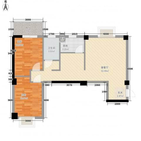 阳光美郡2室1厅1卫1厨88.00㎡户型图
