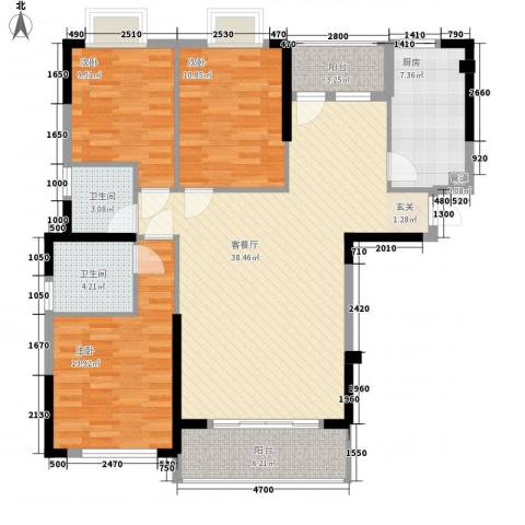 海滨东区3室1厅2卫1厨136.00㎡户型图