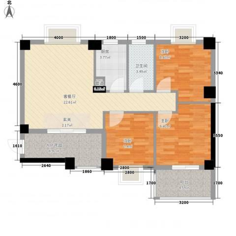 阳光美郡3室1厅1卫1厨88.00㎡户型图