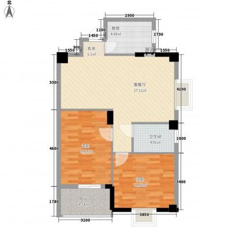 阳光美郡2室1厅1卫1厨65.73㎡户型图