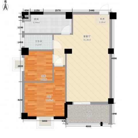 阳光美郡2室1厅1卫1厨65.98㎡户型图