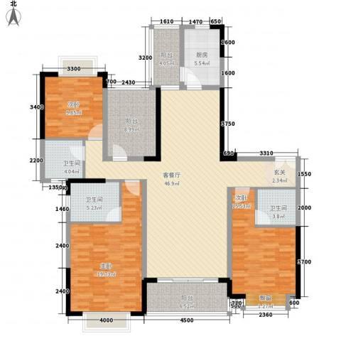 锦绣山河四期观园3室1厅3卫1厨166.00㎡户型图