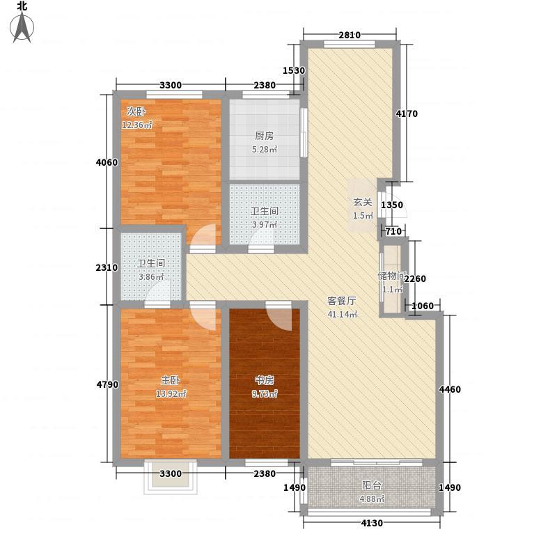 碣石美域122.52㎡F户型3室2厅2卫1厨