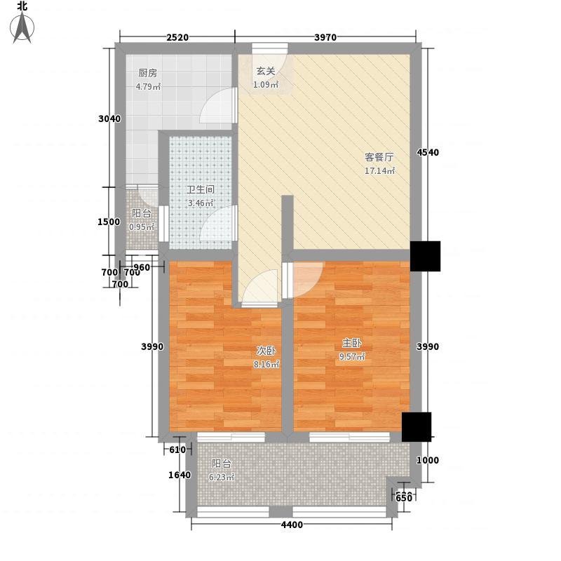 先锋银座74.00㎡一期A户型2室1厅1卫1厨