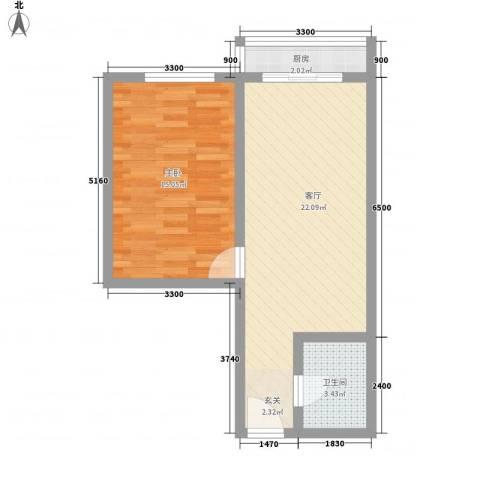 金色丽城1室1厅1卫1厨62.00㎡户型图