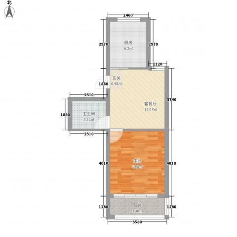 福里社区1室1厅1卫1厨44.00㎡户型图