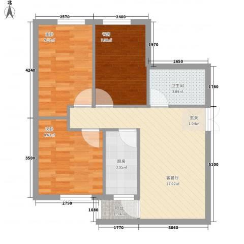居易家园3室1厅1卫1厨74.00㎡户型图