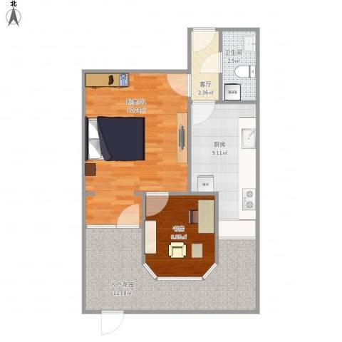 海淀区倒座庙6号楼1单元1层1021室1厅1卫1厨69.00㎡户型图
