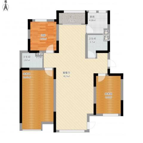 保利溪湖林语三期1室1厅2卫1厨133.00㎡户型图