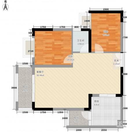 龙井湾住宅2室1厅1卫1厨95.00㎡户型图