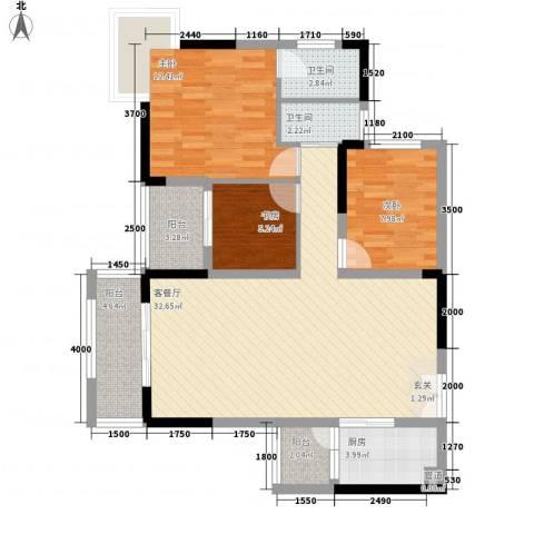 龙井湾住宅3室1厅2卫1厨112.00㎡户型图