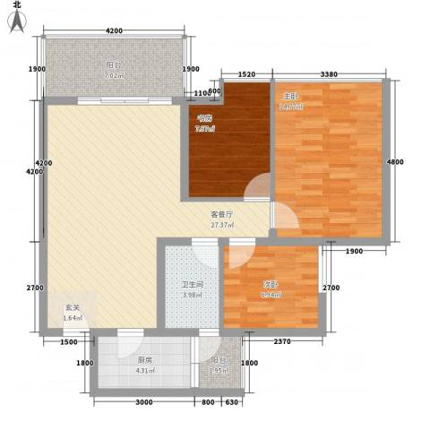 玉成豪园3室1厅1卫1厨105.00㎡户型图