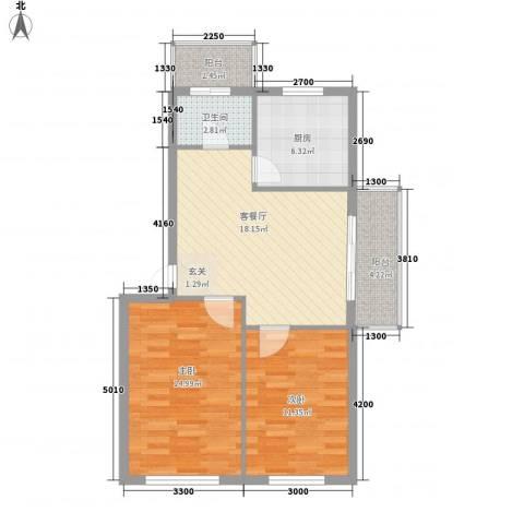 台北华郡2室1厅1卫1厨77.00㎡户型图