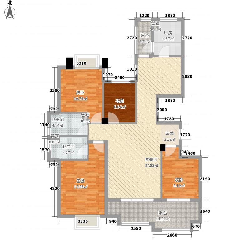 银泰城152.00㎡泰悦居1号楼户型4室2厅2卫1厨