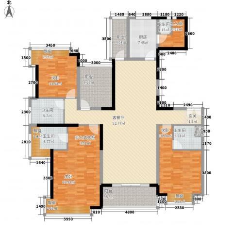 锦绣山河四期观园3室1厅4卫1厨160.09㎡户型图