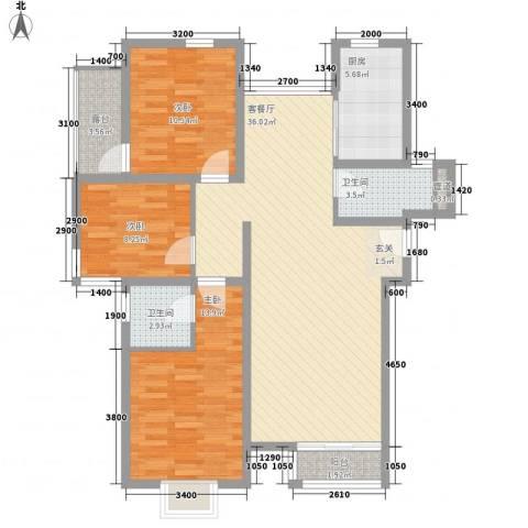 龙门世家3室1厅2卫1厨125.00㎡户型图
