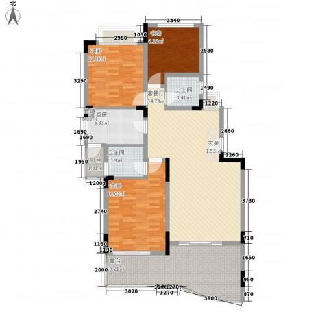 龙井湾住宅3室1厅2卫1厨152.00㎡户型图