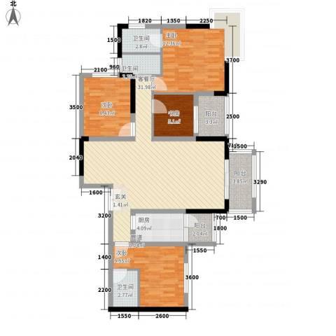龙井湾住宅4室1厅3卫1厨130.00㎡户型图