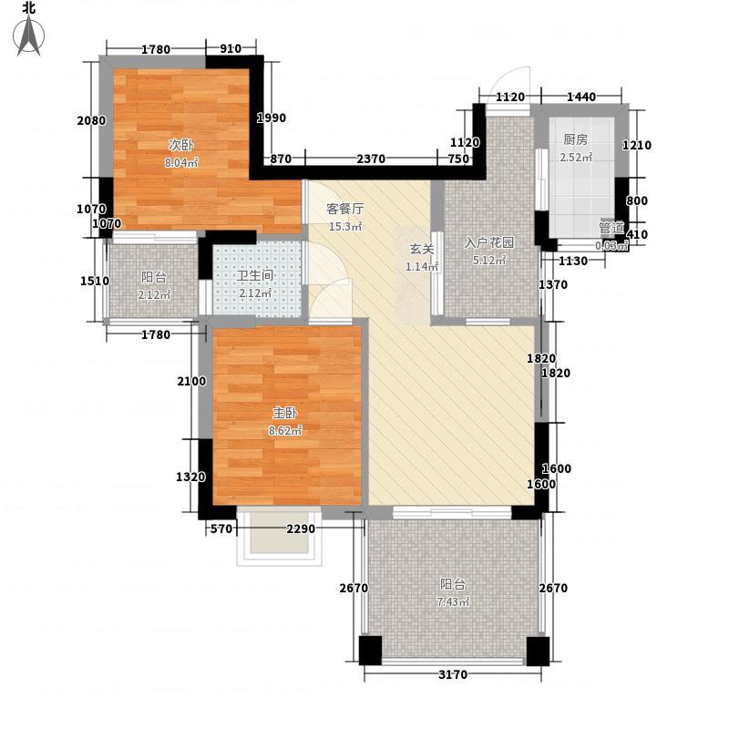 郑东新世界75.00㎡二期D2双数层户型2室2厅1卫