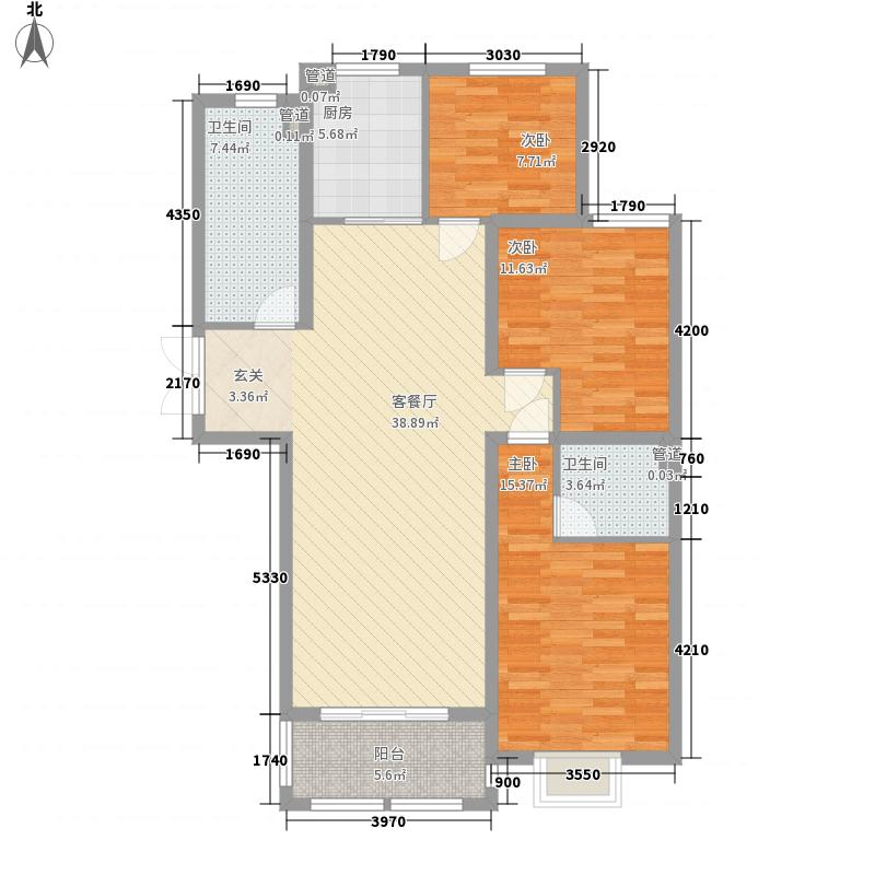 华盛新城明珠3室1厅2卫1厨136.00㎡户型图