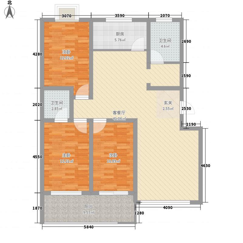 玉苑141.00㎡小区一期多层户型3室2厅2卫1厨