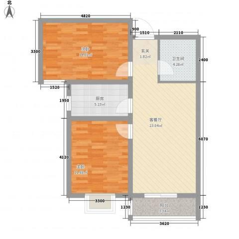 世纪花苑2室1厅1卫1厨89.00㎡户型图