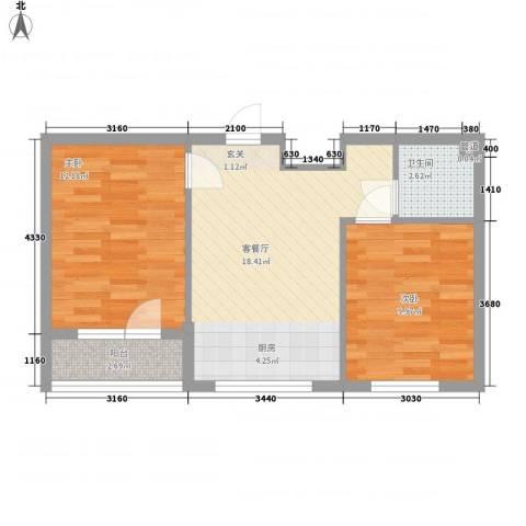 元兴・理想新城2室1厅1卫0厨64.00㎡户型图