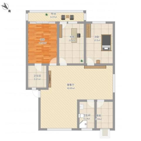 东山花园3室1厅2卫1厨149.00㎡户型图
