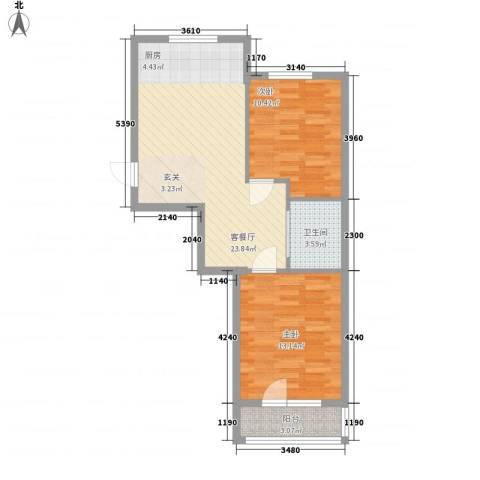 元兴・理想新城2室1厅1卫0厨77.00㎡户型图
