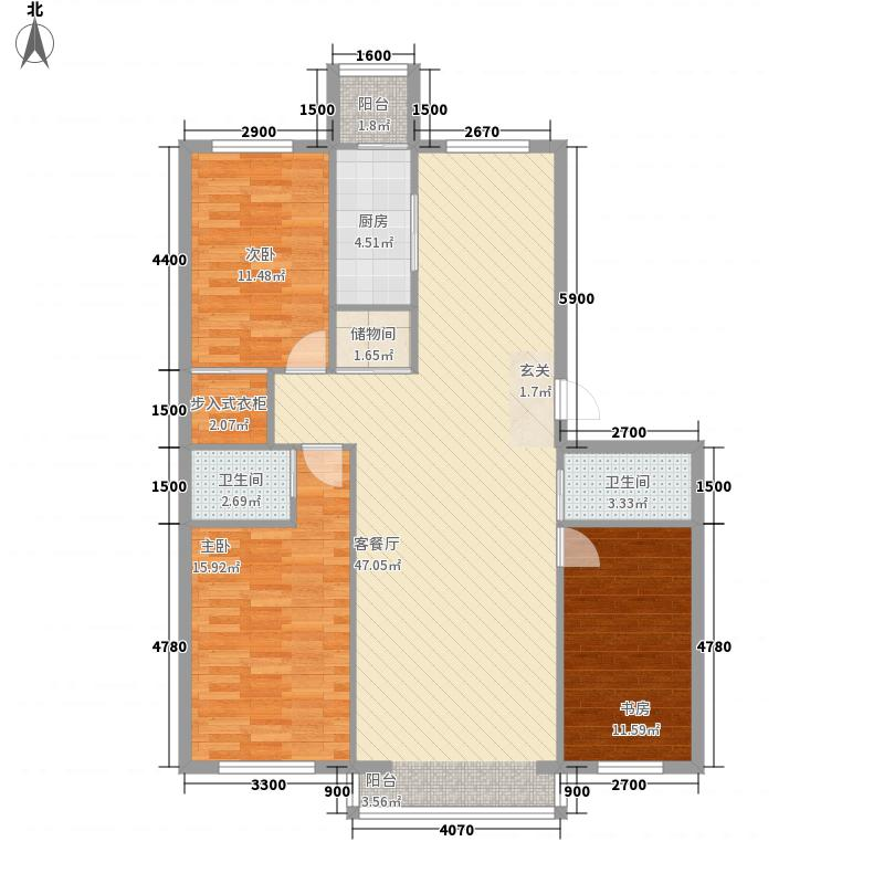 丰和日丽127.43㎡三期户型3室2厅2卫