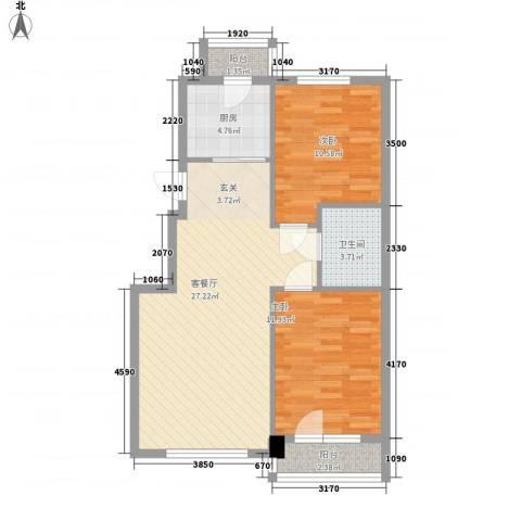 元兴・理想新城2室1厅1卫1厨87.00㎡户型图
