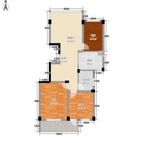 华雅花园3室1厅1卫1厨117.00㎡户型图