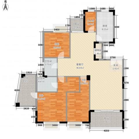 丽江花园3室1厅2卫1厨182.00㎡户型图