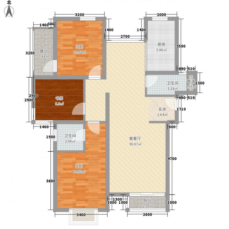 温馨花园8户型3室2厅2卫1厨