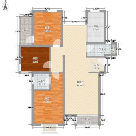 温馨花园3室1厅2卫1厨124.00㎡户型图