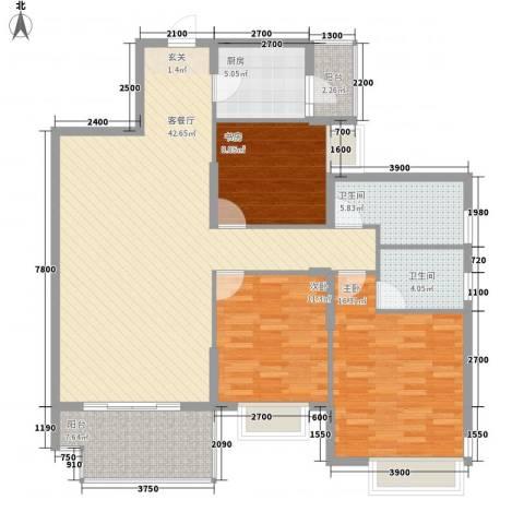 豆仔尾路295号民房3室1厅2卫1厨116.02㎡户型图