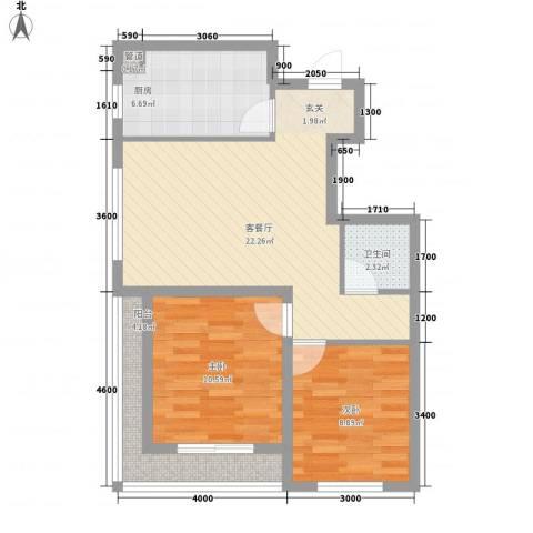 豆仔尾路295号民房2室1厅1卫1厨64.38㎡户型图