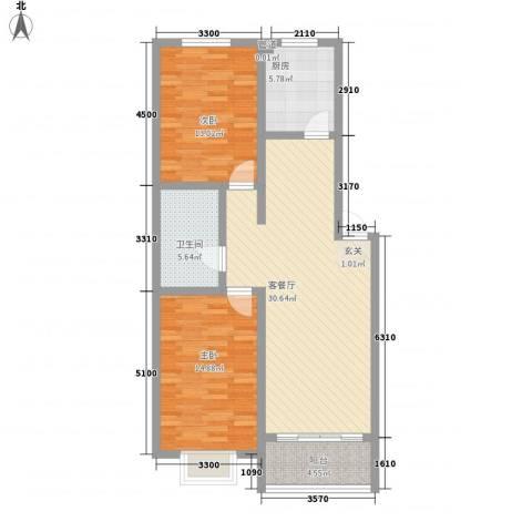天娇园2室1厅1卫1厨74.53㎡户型图