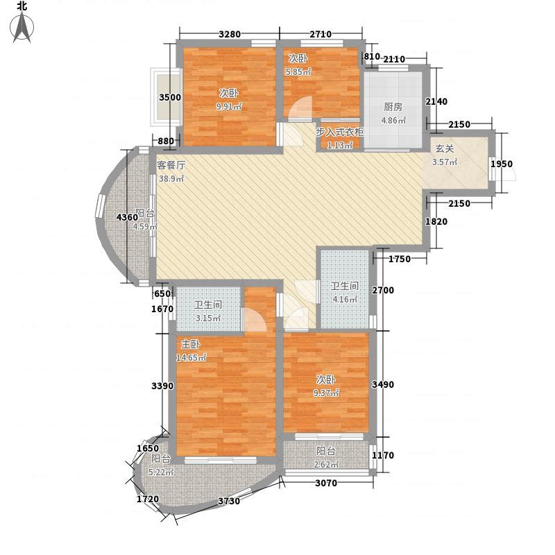 高尔夫庄园15.00㎡18#19#20#楼G-A户型4室2厅2卫1厨