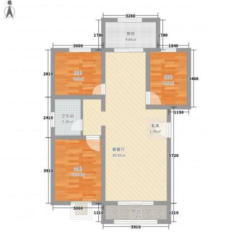 东方嘉苑3室1厅1卫1厨88.00㎡户型图