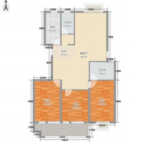 东盛・公园1号1室1厅2卫1厨147.00㎡户型图