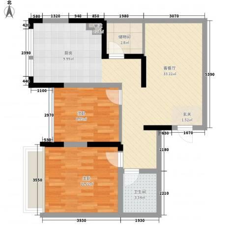 龙泽半岛逸湾2室1厅1卫0厨87.00㎡户型图
