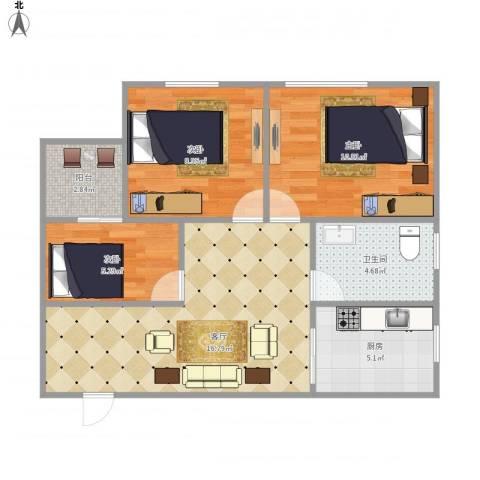 新街口7137793室1厅1卫1厨74.00㎡户型图