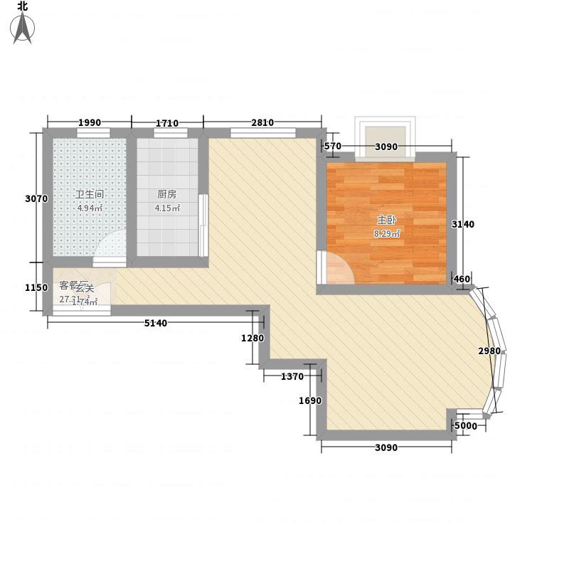 中南海湾新城65.65㎡5号标准层D/E户型1室2厅1卫