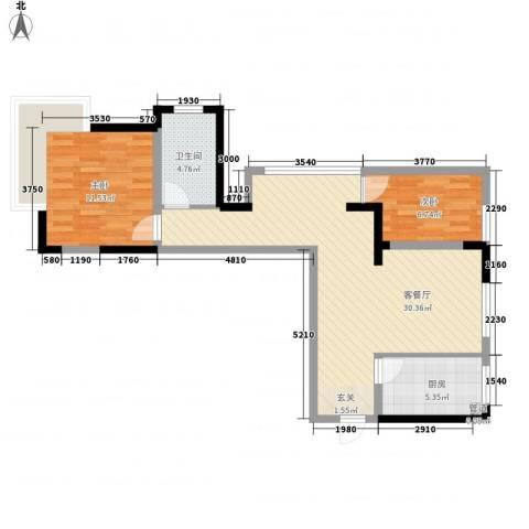 龙泽半岛逸湾2室1厅1卫1厨85.00㎡户型图