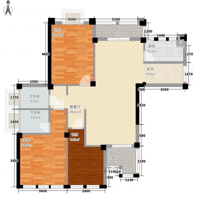 骆城芳洲3室1厅2卫1厨125.00㎡户型图