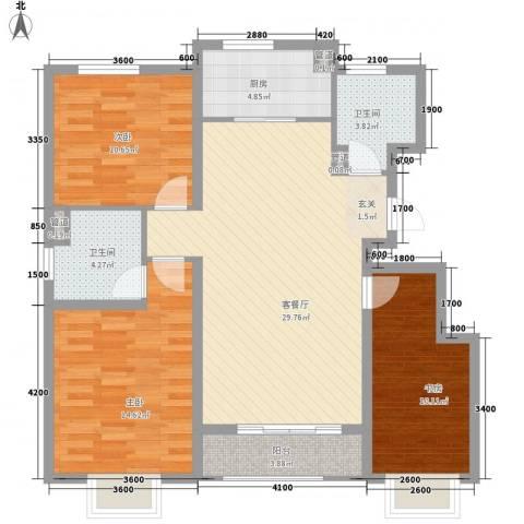 思明农行宿舍3室1厅2卫1厨117.00㎡户型图