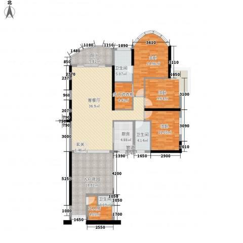 思明农行宿舍3室1厅3卫1厨171.00㎡户型图