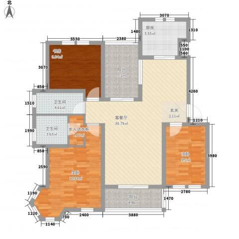 世茂东都3室1厅2卫1厨134.00㎡户型图